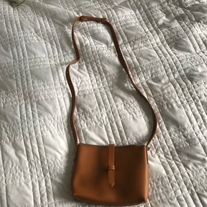 J Crew tan leather crossbody purse NWT